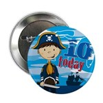 "Cute Pirate Boy 10th Birthday 2.25"" Button (1"