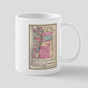 Vintage Map of Washington and Oregon (1872) Mugs