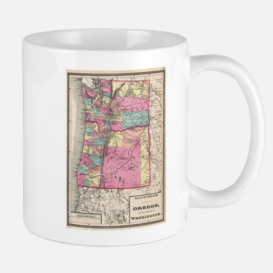 Vintage Map of Washington and Oregon (1872) Mugs