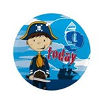 "Cute Pirate Boy 9th Birthday 3.5"" Button"