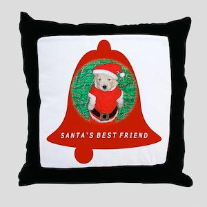 Christmas Funny Santa Puppy Bell Throw Pillow