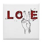 Love Peace V Tile Coaster