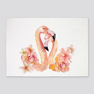 Tropical birds- Flamingo in LOVE wi 5'x7'Area Rug