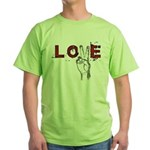 Love Peace V Green T-Shirt