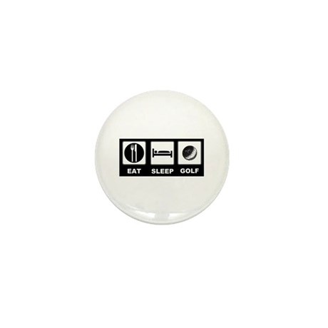 Eat Sleep Golf Mini Button