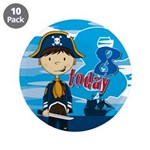 "Cute Pirate Boy 8th Birthday 3.5"" Button (10"