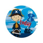 "Cute Pirate Boy 8th Birthday 3.5"" Button"