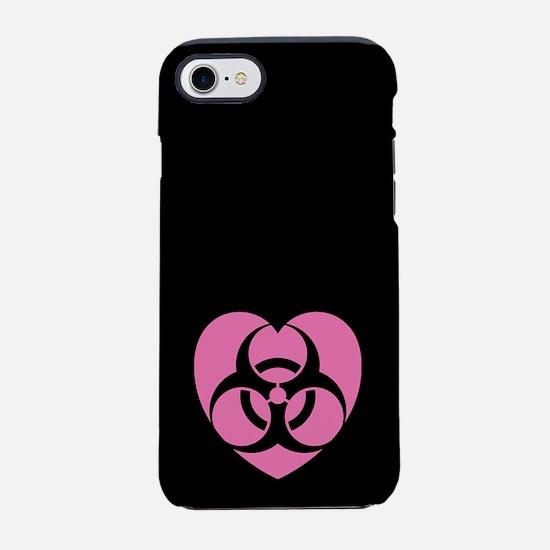 Pink Heart Biohazard iPhone 7 Tough Case