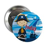 "Cute Pirate Boy 7th Birthday 2.25"" Button"