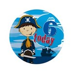 "Cute Pirate Boy 6th Birthday 3.5"" Button (100"