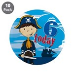 "Cute Pirate Boy 6th Birthday 3.5"" Button (10"