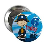 "Cute Pirate Boy 6th Birthday 2.25"" Button (10"