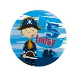 "Cute Pirate Boy 5th Birthday 3.5"" Button (100"