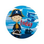 "Cute Pirate Boy 5th Birhtday 3.5"" Button"