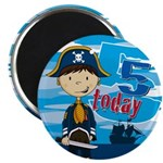 "Cute Pirate Boy 5th Birthday 2.25"" Magnet (10"