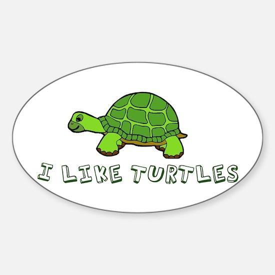 I Like Turtles Sticker (Oval)