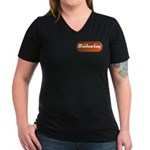 Family Woodworking Women's V-Neck Dark T-Shirt