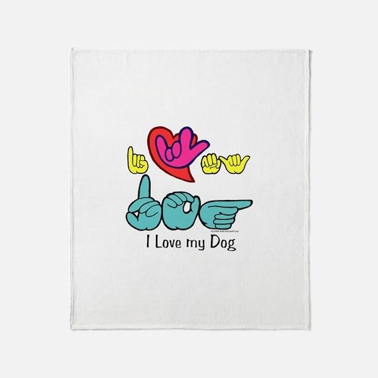 I-L-Y My Dog Throw Blanket