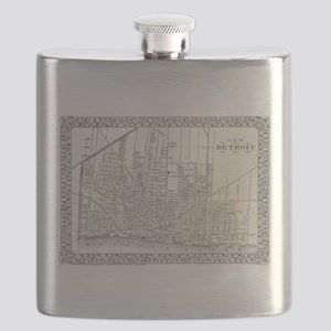 Vintage Map of Detroit Michigan (1872) Flask