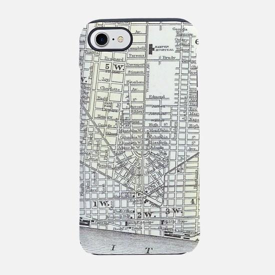 Vintage Map of Detroit Michiga iPhone 7 Tough Case