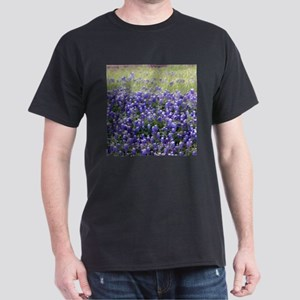 Texas Field of Blue Black T-Shirt