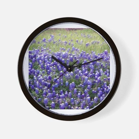 Texas Field of Blue Wall Clock
