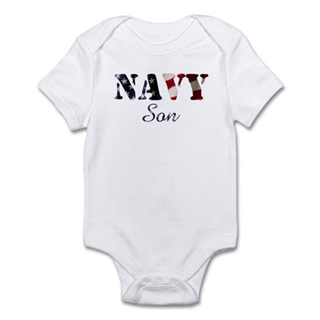 Navy Son Flag Infant Creeper