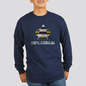 Enterprise-D chrome badge Long Sleeve Dark T-Shirt