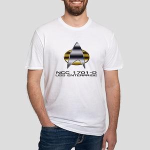 Enterprise-D chrome badge Fitted T-Shirt