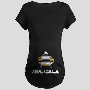 Enterprise-D chrome badge Maternity Dark T-Shirt