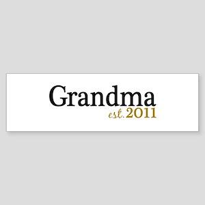 New Grandma Est 2011 Sticker (Bumper)