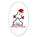 Dog Christmas Sticker (Oval 50 pk)