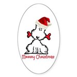 Dog Christmas Sticker (Oval 10 pk)