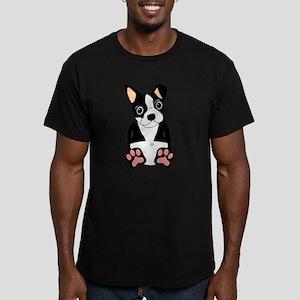 Boston Terrier Puppy Men's Fitted T-Shirt (dark)
