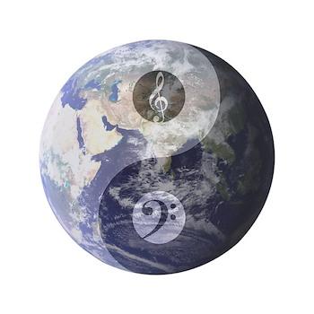 Gino Foti Yin Yang Earth With Music Clefs Button