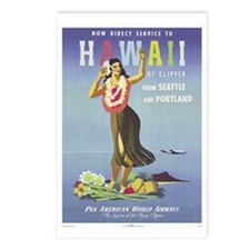'Hawaii By Clipper' Panam Poster Postcards (Packag