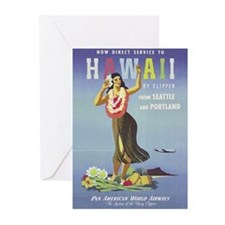 'Hawaii By Clipper' Panam Poster Greeting Cards (P