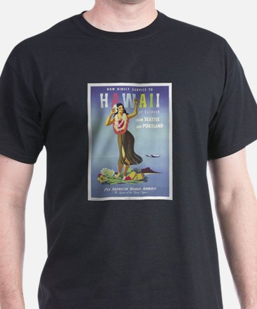 'Hawaii By Clipper' Panam Poster Black T-Shirt
