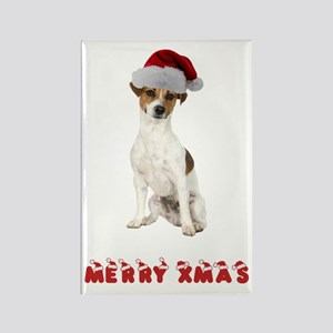 Xmas Jack Russell Terrier Rectangle Magnet