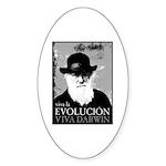 Viva Darwin Evolucion Sticker (Oval 50 pk)