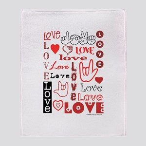 Love WordsHearts Throw Blanket