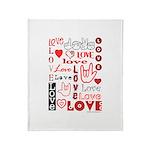 Love WordsHearts Throw Blanket