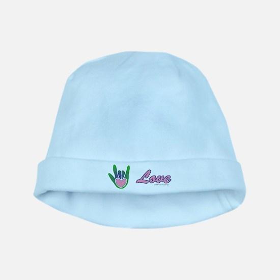 Green/Pink Love Hand baby hat