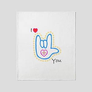 Blue Bold I-Love-You Throw Blanket