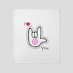 B/W Bold I-Love-You Throw Blanket