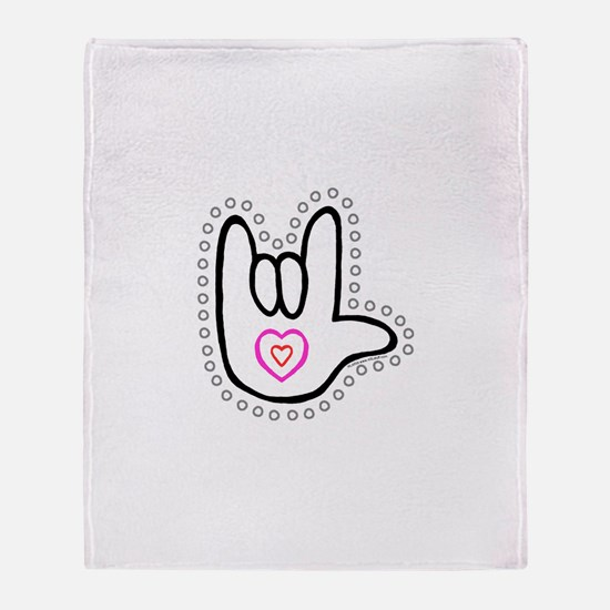 B/W Bold Love Hand Throw Blanket