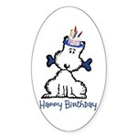 Dog Birthday Sticker (Oval)