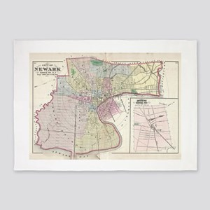 Vintage Map of Newark NJ (1872) 5'x7'Area Rug