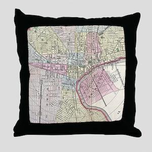 Vintage Map of Newark NJ (1872) Throw Pillow