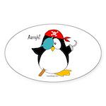 Pirate Penguin Sticker (Oval 50 pk)